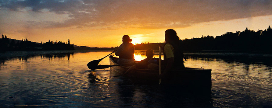 canoagem canoeing Kids Family sunset