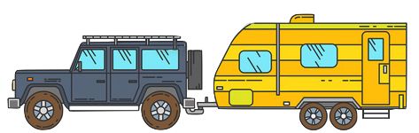 camping trailer landrover jeep