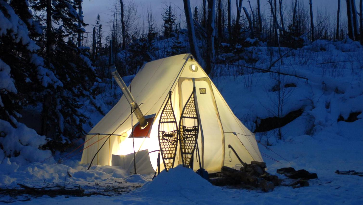appalachian tent snow night
