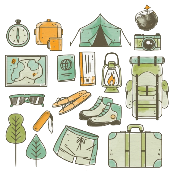 overland camping stuff illustration